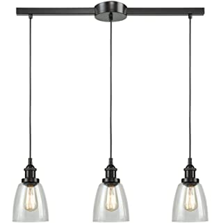 CLAXY Ecopower Vintage Kitchen Linear Island Glass Chandelier - 3 light kitchen island pendant lighting fixture
