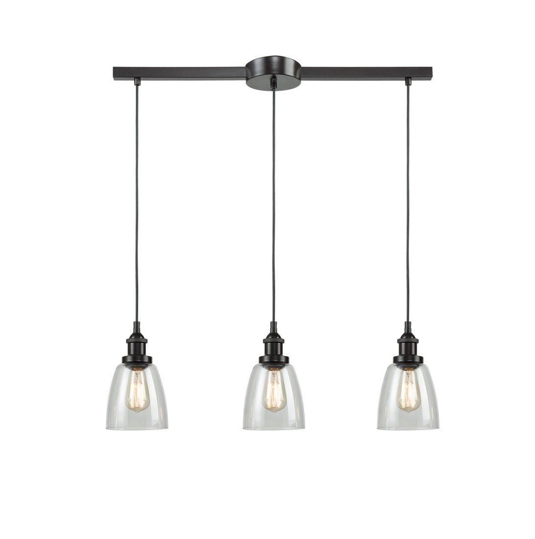 EUL Industrial Kitchen Island Lighting Glass Pendant Chandelier Lighting Fixture Oil Rubbed Bronze-3 Lights