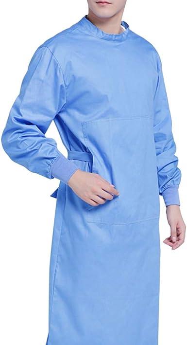 NONE Bata Quirúrgica de Algodón Bata de Aislamiento Médico Lavable Batas de Protección Ropa de Trabajo Hospitalaria para Médicos Suministros Médicos de Enfermería (Azul S): Amazon.es: Ropa y accesorios