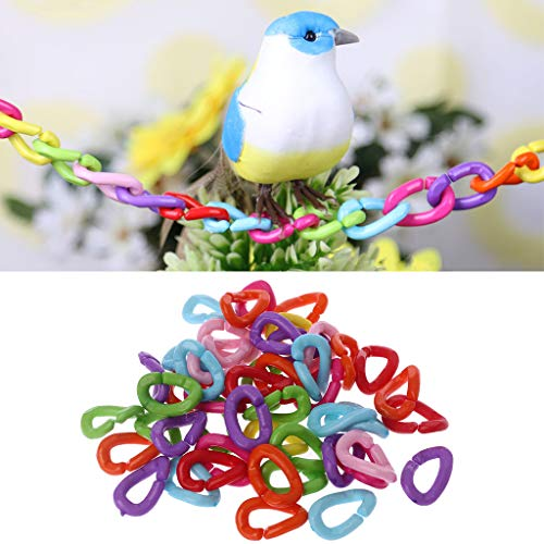 (Seaskyer Plastic C-Clips Hooks Chain Links C-Links Rat Parrot Bird Toy Cage,50Pcs/Pack Parrot Toys Clips Hooks Bird Stand Chain Rainbow Rat Bird DIY Toy)