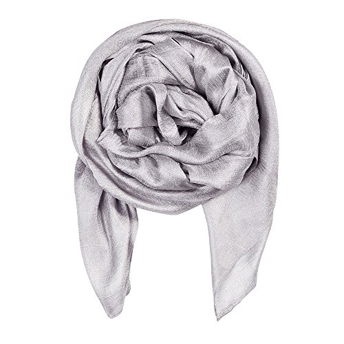 (QBSM Womens Silver Grey Large Solid Soft Bridal Wedding Evening Dresses Scarf Shawls Wraps)
