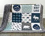 Moose Baby Blanket - Bear Baby Blanket - Minky Baby Blanket - Woodland Blanket -Baby Blanket - Nursery Decor - Crib Bedding - Faux Patchwork -Blue
