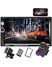 Camecho Podwójne radio samochodowe Din Audio Bluetooth Touch MP5 Player USB FM Android Telefon Lustro Link Entertainment Multimedia Stereo + 4 mini kamera cofania z kierownicy