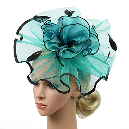 Vintage Women Headwear 1920s Gatsby Veil Flower Fascinator Hairclip Headress (Color - Green)]()