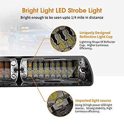 FOXCID LED Law Enforcement Emergency Hazard Warning Strobe Flashing Lights 16 LED High Intensity 18 Modes for Interior Roof Dash Windshield with Suction Cups (Amber): Automotive