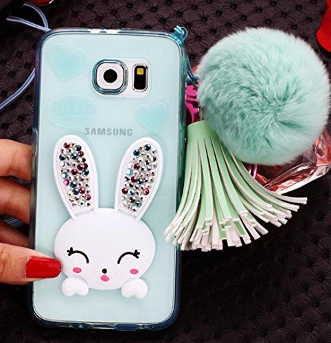 - Galaxy Note4 3D Rabbit Kickstand Case, OMORRO New Luxury Manual Shiny Glitter Diamond Ear Funny Flurry Tail Hair Ball Pendant Charm Tassel [Hanging Sling] Case for Samsung Galaxy Note 4 Green