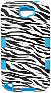 MyBat Samsung Galaxy Note II (T889/I605/N7100) TUFF Hybrid Phone Protector Cover - Retail Packaging - Zebra Skin/Tropical Teal