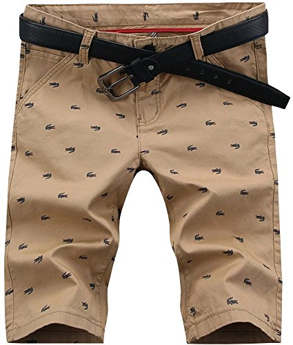 Men's Fashion Casual Slim Fit Chino Bermuda Beach Shorts Boardshorts, Khaki, US 36=Tag 38