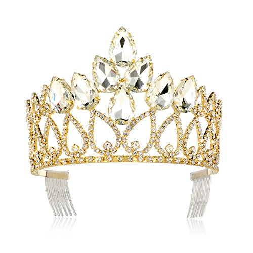 DcZeRong Crystal Crown Queen Tiara Gold Metal Adult Women Birthday Prom Pageant Diamond Tiara Crown ()
