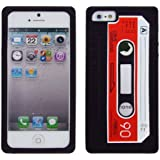 Cbus Wireless Black/Red Silicone Cassette Tape Case / Skin / Cover for Apple iPhone SE / 5 5G 5S
