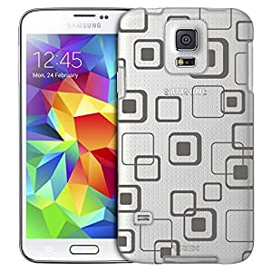 Samsung Galaxy S5 Case, Slim Fit Snap On Cover by Trek Tan Electonic Squares Clear Case