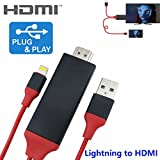 Lightning to HDMI Adapter,KSRplayer 1080P HDMI Video AV Cable Connector Conversion Same Screen Device HDTV Adapter for iOS Device iPhone 7/7 Plus,iPhone 6/6 Plus/5S/5/5C/SE,iPad 6FT Plug and Play