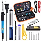 hothuimin Soldering Iron Kit Electronics, 60W 110V Adjustable Temperature Welding Tool, 5pcs Soldering Tips, Desoldering Pump, Soldering Iron Stand with Carrying Case