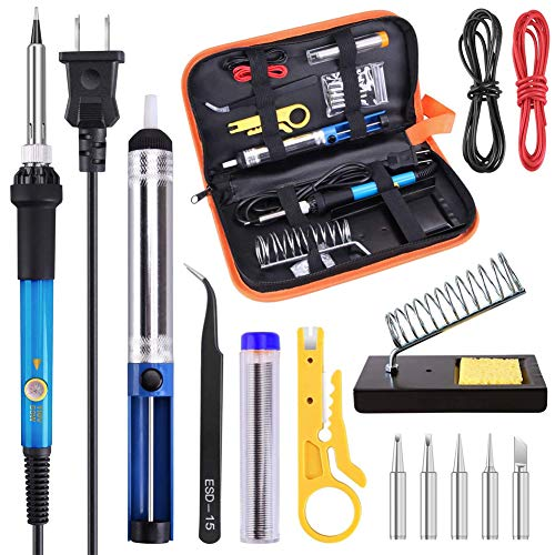 hothuimin Soldering Iron Kit Electronics, 60W 110V Adjustable Temperature Welding Tool, 5pcs Soldering Tips, Desoldering Pump, Soldering Iron Stand with Carrying Case by hothuimin (Image #6)