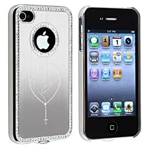 Apple iPhone 4 4s Rhinestone Crystal Bling Hard Case Cover Rosary Mary (Silver)