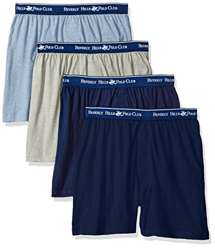 Beverly Hills Polo Club Men's 4 Pack Knit Boxer, Navy/Grey Light Blue Heather, Medium