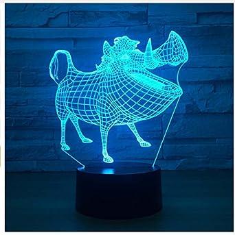 Jabalí 3D Lámpara Led Noche Luz Ilusión Animal Lámpara Mesa Usb ...