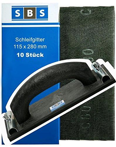 SBS® Gitterleinen 115x280mm 70 Stück Mix Pack + 1x SBS® Handschleifer 225x105mm