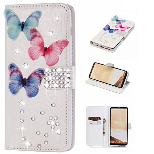 Gostyle Samsung Galaxy S8 Bling Diamond Wallet Case,3D Handmade Shiny Glitter Crystal Rhinestone PU Leather Flip Kickstand Cover with Credit Card Slots Magnetic Closure,Butterfly & Gems