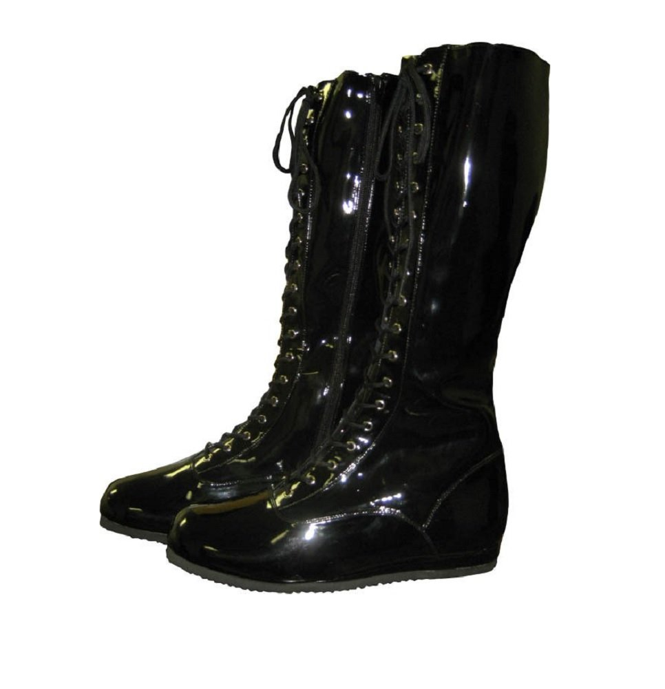 Pro Wrestling Costume Boots (Medium Black) by Costume Agent