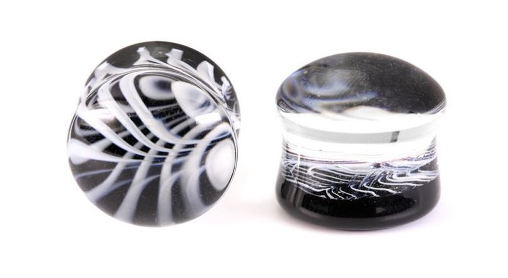 Painful Pleasures Double Flare BLACK WHITE Glass Plug - 8g - 3/4'' - Price Per 1-11mm ~ 7/16''