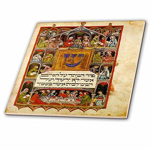 3dRose ct_193072_2 Print of The Hebrew Haggadah from 1400-Ceramic Tile, ()
