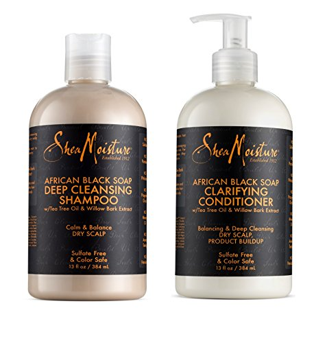 Shea Moisture African Black Soap Shampoo & Conditioner Set, 13 Ounce Each Moisture Balancing Shampoo