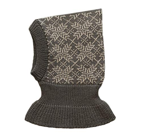 100% merino wool BALACLAVA children knit winter hat scarf ski (L, Dark grey-Light grey)