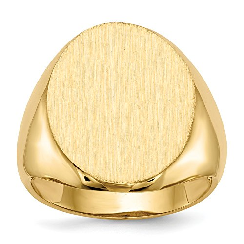 - 14k Yellow Gold Mens Signet Band Ring Size 9.00 Man Fine Jewelry Gift For Dad Mens For Him