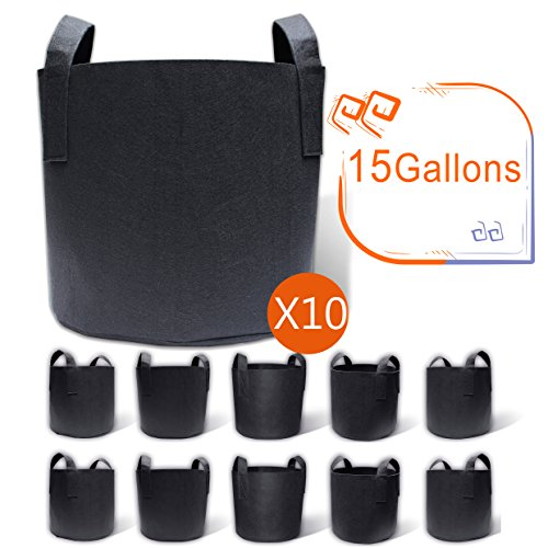 (Gardzen 10-Pack 15 Gallon Grow Bags, Aeration Fabric Pots with Handles)