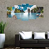 5Pcs/Set 3D Thailand Sea Island Combination Wallpaper Bedroom Sofa Wall Sticker Poster Self-Adhesive PVC Art Mural Home Decor Ma388
