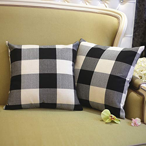 (Gysan Farmhouse Decor Black and White Buffalo Checkers Plaids Cotton Linen Throw Pillow Cover Decorative Cushion Case Home Sofa 18 x 18 Inch, Set of 2)