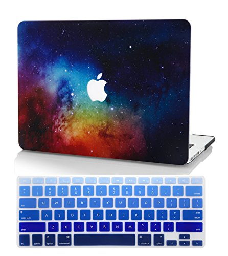 KEC MacBook Pro Retina 13 Inch Case (2015) w/ KeyBoard Cover Plastic Hard Shell Cover A1502 / A1425 Space Galaxy (Night Dream)