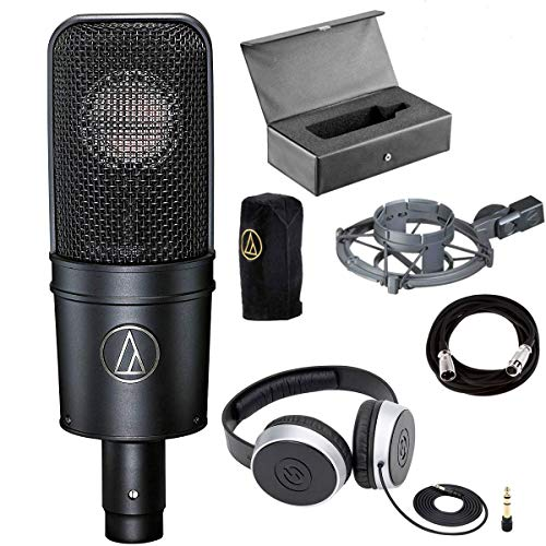 Audio-Technica AT4040 Cardioid Condenser Mic with Shock Mount + Samson SR550 Over-Ear Studio Headphones + Mic Cable, 20 ft. XLR Bulk