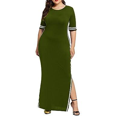 47ce9838288 ADESHOP Élégant Robe Femmes Col Rond Stripe Manche Courte Slim Sport Long  Dress Femmes Casual Chic