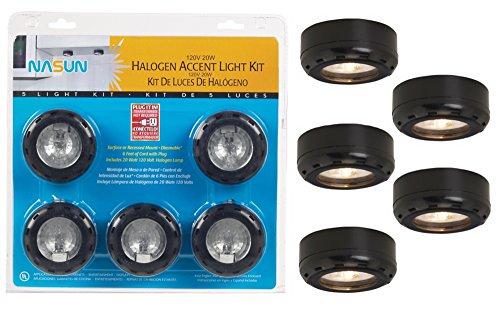 Black Halogen 20 Watt 5-Pack Puck Light Kit