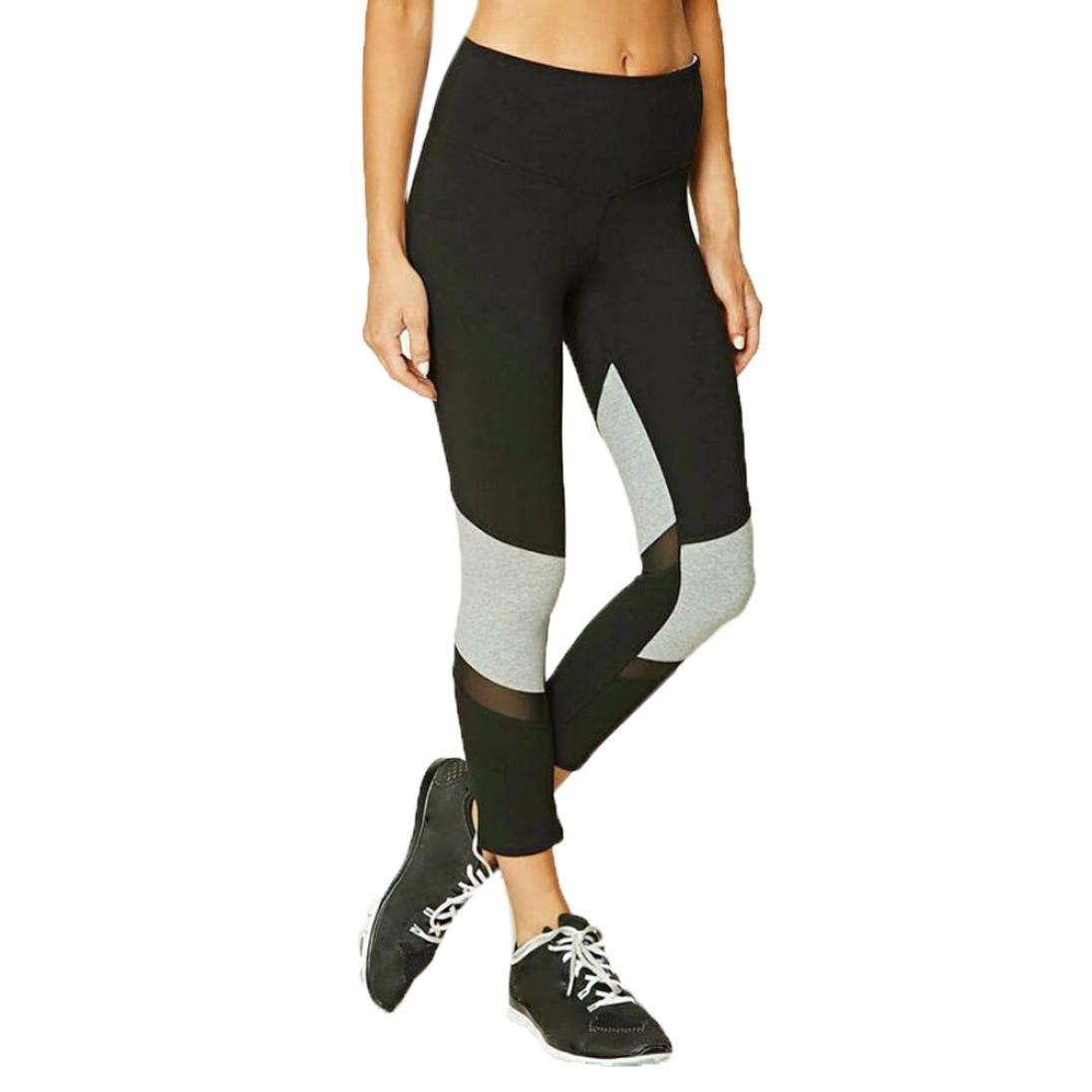 Leedford Women Leggings, Yoga Pants For Women Fitness Mesh Patchwork Workout Leggings Winter Yoga Capris (XL, Black)