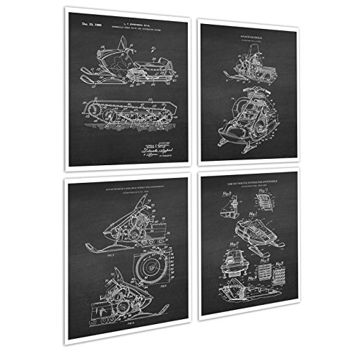 Gnosis Picture Archive Snowmobile Art Set of 4 Unframed Art Prints Snowmobile gifts Patents_Snowmobile_Chk4A ()