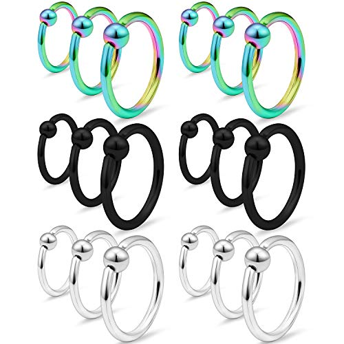 SCERRING 9 Pairs 16G Captive Bead Piercing Ring Stainless Steel Nose Septum Tragus Helix Nipple Lip Eyebrow Hoop Rings 8mm 10mm 12mm Mix Color 1#