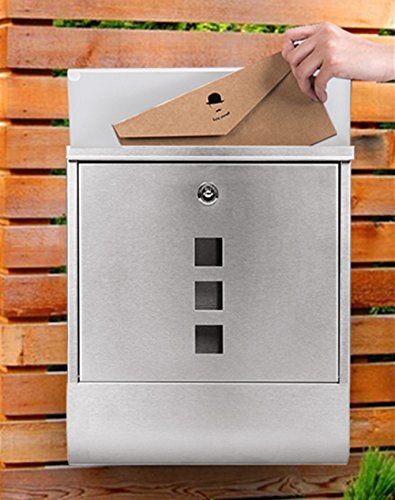 Voluker Wall Mounted Mailbox Stainless Steel Mailbox Locking Vertical Mailbox Modern Postbox Silver by Voluker (Image #1)