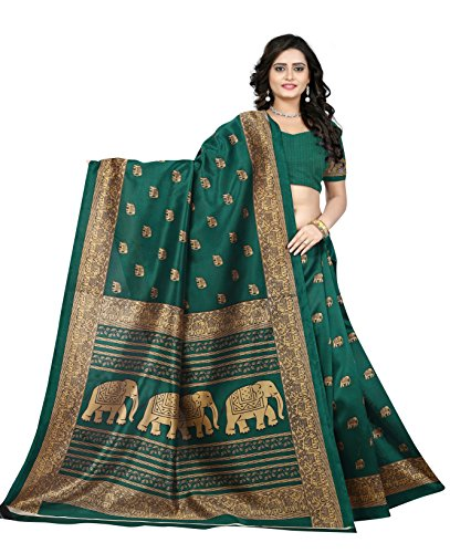 Green Silk Saree - Jaanvi fashion Women's Art Silk Kalamkari Printed Saree (Green)
