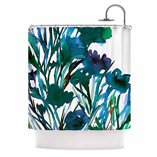 KESS InHouse Ebi Emporium Petal for Your Thoughts Teal Turquoise Green Shower Curtain, 69
