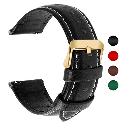 4 Colors for Quick Release Leather Watch Band, Fullmosa Band Replacement 18mm, 20mm, 22mm, 24mm Watch Strap, 24mm Black-Axus by Fullmosa