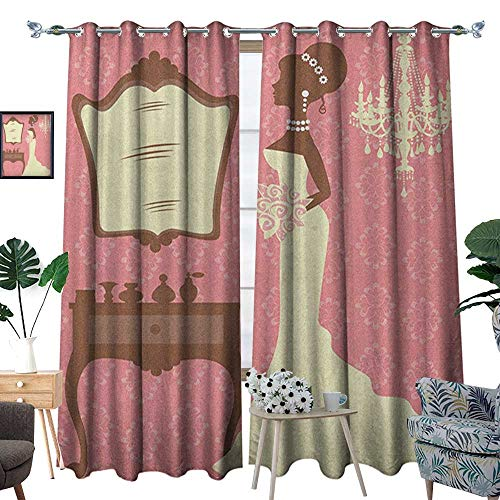 Warm Family Bridal Shower Thermal Insulating Blackout Curtain Wedding Dress with Flowers and Vanity Swirl Backdrop Celebration Patterned Drape for Glass Door W72 x L108 Coral Brown and White (Dora The Explorer Vanity)