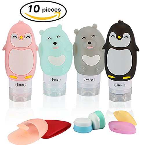Price comparison product image CareKeep Cute Pretty Travel Bottles Set Portable FDA approved TSA approved 100% BPA Free Leak Proof toiletry bottles Silicone cosmetic Containers travel Carry-on cream jars with lids (Bottles_Cute)