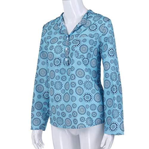 Haut d'automne Blouse Top Longues clair Manches Femme Chemise Bleu Chemiser T lache Manches Subfamily Shirt Fleurs Longues RwTx1E7gq
