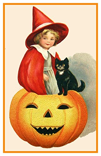 Orenco Originals Little Girl Pumpkin Cat Halloween Counted Cross Stitch Pattern ()