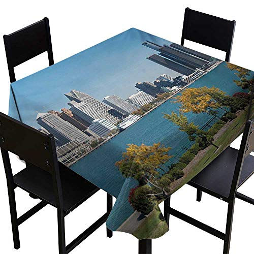 ScottDecor Detroit Non Slip Tablecloth Industrial City Center Shoreline River Scenic Panoramic View in a Sunny Day 36 inch Square Tablecloth Blue Green -