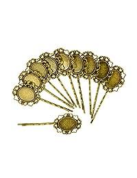 Generic 10 Pcs Retro Bronze Gothic Flower Blank Oval Hair Clip Pin Headwear Jewelry