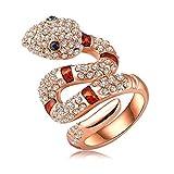 LuckyWeng Snake Animal CZ Stone Crystal Cute Cool Wedding Rings Teens Girls Kids Jewelry 18K Rose Gold